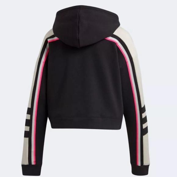 ADIDAS 3 Stripe Racing Pink White Black Hoodie
